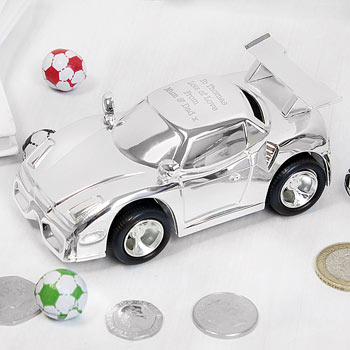 Personalised Engraved Silver Plated Racing Car Money Box