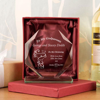Personalised Engraved Godparents Cut Glass Presentation Gift