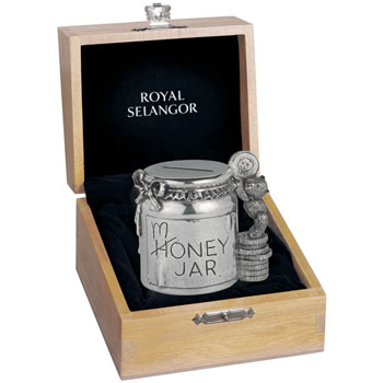 Teddy Bear Money Bank in Wooden Box by Royal Selangor