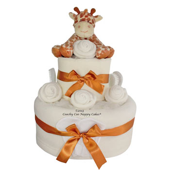Unisex Two Tier Giraffe Nappy Cake