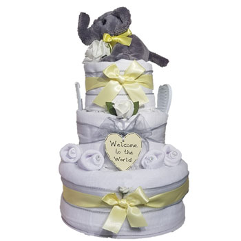 Three Tier Elephant Unisex White & Yellow Nappy Cake