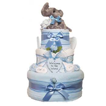 Three Tier Baby Boy Elephant Nappy Cake
