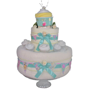 Unisex Vintage Tea Party Nappy Cake Gift