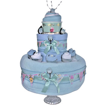 Blue Baby Boys Vintage Tea Party Nappy Cake Gift