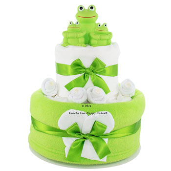 Two Tier Unisex Baby Bath Time Frog Toy Nappy Cake