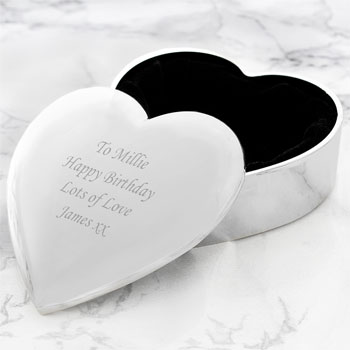 Personalised Silver Plated Engraved Heart Trinket Box