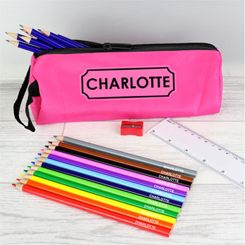 Personalised Pink Pencil Case and Pencils