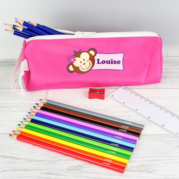 Personalised Pink Monkey Pencil Case and Pencils