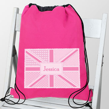 Personalised Pink Patchwork Union Jack Swim Bag PE Bag