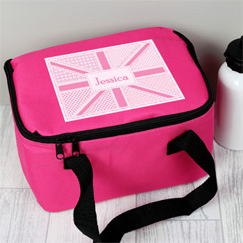 Personalised Pink Patchwork Union Jack Insulated Lunch Bag