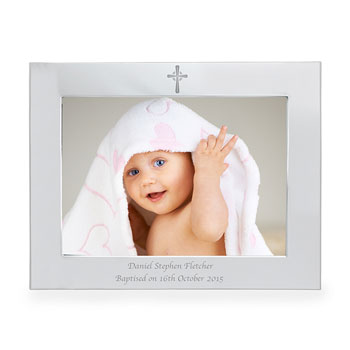 Personalised 7x5 Landscape Christening Cross Photo Frame