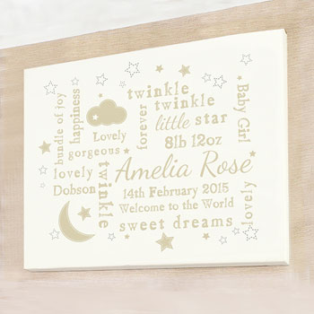 Personalised Twinkle Typography Landscape Baby Canvas