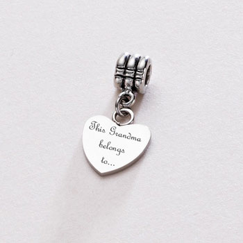 Stainless Steel Heart Shaped Bracelet Charm Grandma