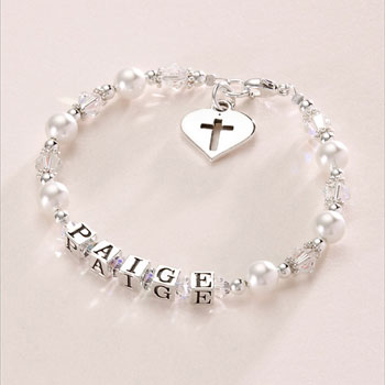 Girl's Pearl Christening Name Bracelet with Silver Heart