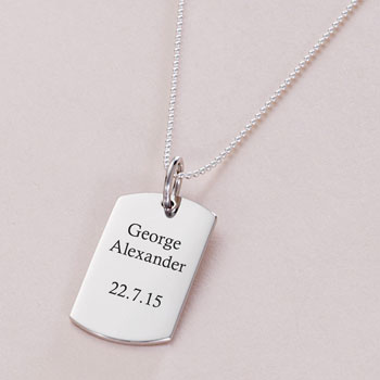 Sterling Silver Boy's Engraved Dog Tag Necklace