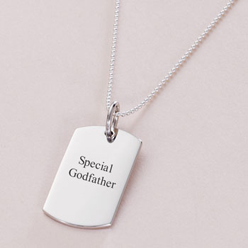 Personalised Special Godfather Silver Dog Tag Necklace