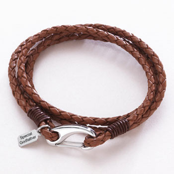Leather Wrap Godfather Bracelet With Engraved Steel Tag