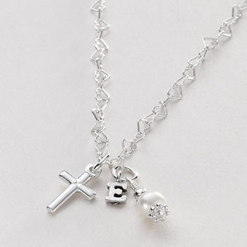 Sterling Silver Necklace with Cross Pearl and Initial Charm