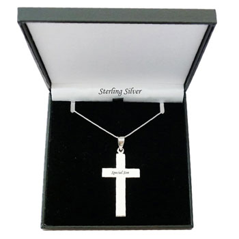 Boy's Solid Silver Personalised Christening Cross Necklace