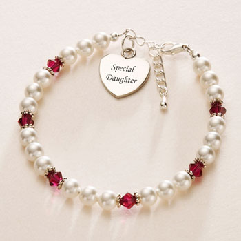 Birthstone Bracelet With Engravable Steel Heart