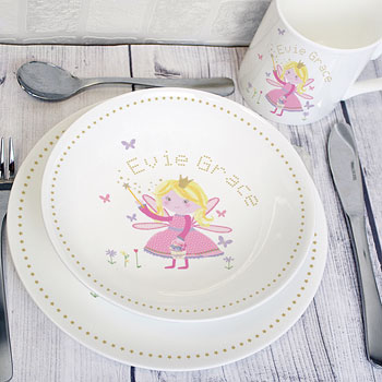 Personalised Garden Fairy Girl's China Breakfast Set