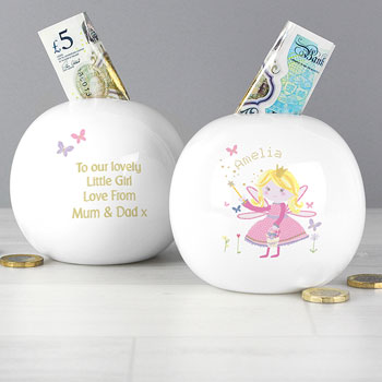 Personalised Garden Fairy Girl's China Money Box