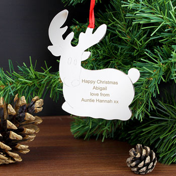 Personalised Metal Reindeer Tree Decoration