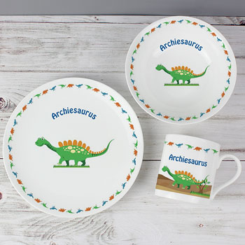 Personalised Children's China Dinosaur Breakfast Set