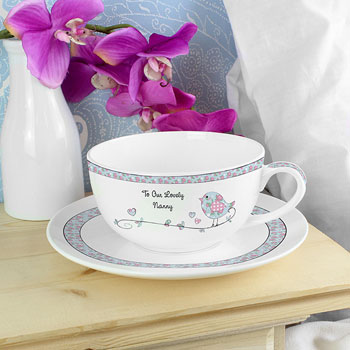 Personalised Floral Birds Teacup and Saucer Any Text