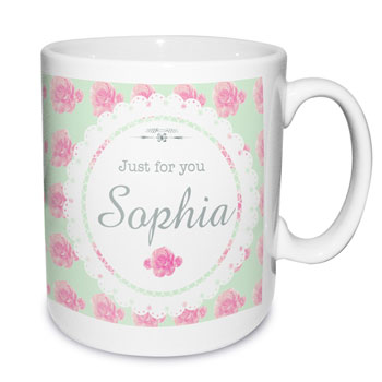 Personalised Vintage Rose Mug Any Name Mum Grandma etc