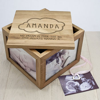 Personalised Baby Name in Cloud Oak Photo Keepsake Box
