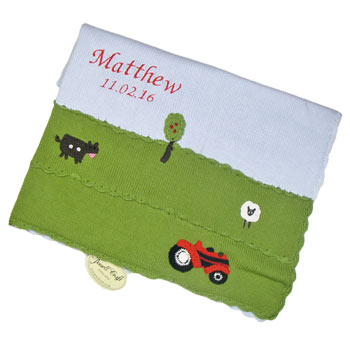 Personalised Embroidered Knitted Farmyard Cot Baby Blanket