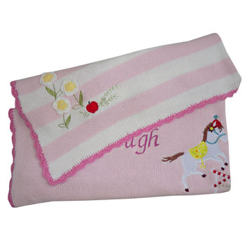 Girl's Personalised Embroidered Knitted Pony Cot Blanket