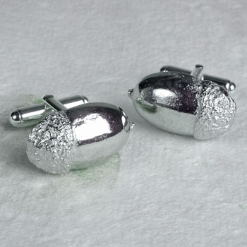 Solid Pewter and Silver Acorn Cufflinks by Glover and Smith