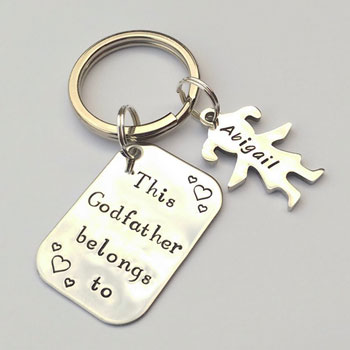 Personalised Godfather Stainless Steel Hand Stamped Keyring