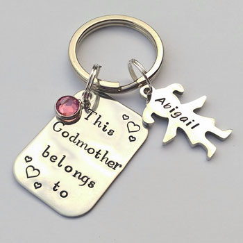 Personalised Godmother Hand Stamped Stainless Steel Keyring