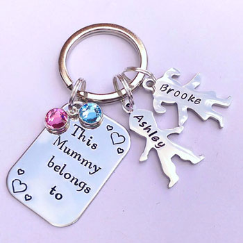 Personalised This Mummy Belongs To Keyring Stainless Steel