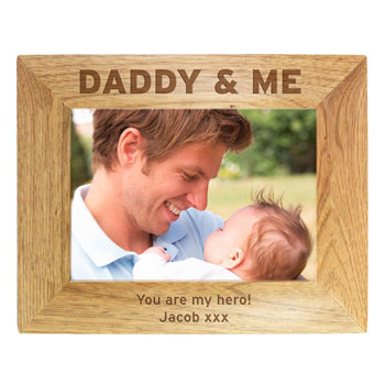 Daddy and Me 5x7 Inch Engraved Wooden Photo Frame