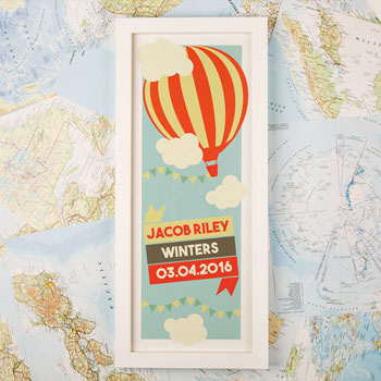 Large Hot Air Balloon Personalised Framed Baby Print