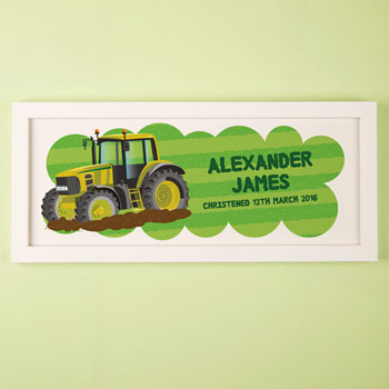 Large Tractor Boy's Personalised Framed Name Print