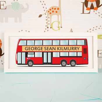 Large London Bus Personalised Framed Name Print