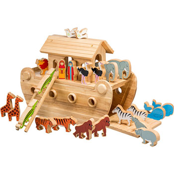 Deluxe Lanka Kade Wooden Noah's Ark with Colourful Animals