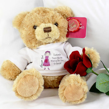 Cartoon Flower Girl Personalised Message Bear