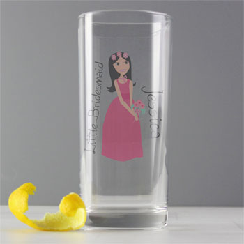 Personalised Little Bridesmaid Flower Girl Hi Ball Glass