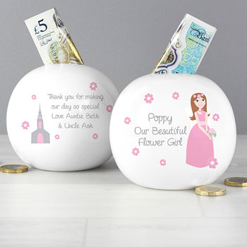Our Beautiful Flower Girl Personalised China Money Box