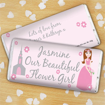 Personalised Flower Girl Chocolate Bar