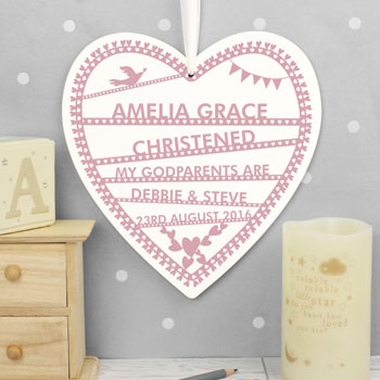 Personalised Pink Papercut Large Wooden Heart Decoration