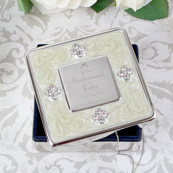 Personalised Bridesmaid Square Diamante Trinket Box