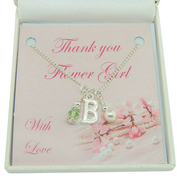Thank You Bridesmaid Flower Girl Initial Birthstone Necklace