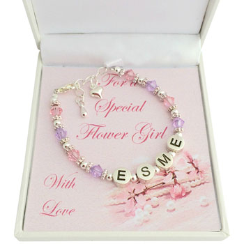Personalised Flower Girl Pewter Name Bracelet